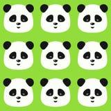 Vector безшовная плоская картина панды на зеленой предпосылке Стоковое Изображение RF