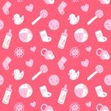 Vector безшовная розовая картина младенца с игрушками, smileys, bottel, носками, Хартами и цветками Стоковое Изображение RF