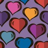 Vector безшовная стильная картина с сердцами нарисованными рукой Валентайн дня s конструкция самомоднейшая Для оболочек, ткани, т иллюстрация штока