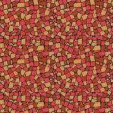 Vector безшовная текстура красной, желтой и коричневой несимметричной декоративной стены плиток иллюстрация штока