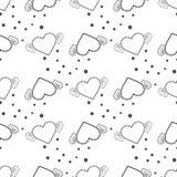Vector безшовная текстура с, который подогнали сердцами и кругом eps 10 бесплатная иллюстрация