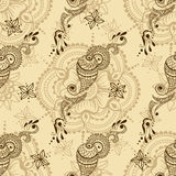 Vector безшовная текстура с флористическим орнаментом в индийском стиле Ornamental Пейсли Mehndi Стоковые Фото
