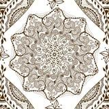 Vector безшовная текстура с флористической мандалой в индийском стиле Предпосылка ornamental Mehndi Стоковое фото RF