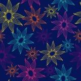 Vector безшовная текстура с яркими и кружевными цветками Бесконечная темная предпосылка Фон вектора яркая картина Стоковые Изображения RF