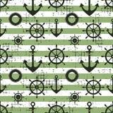 Vector безшовное рулевое колесо картины, спасательный жилет, анкер, предпосылки горизонтальных прямых творческие геометрические в Стоковое Изображение