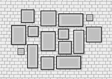 Vector безшовное фоновое изображение деревянных рамок фото на белой кирпичной стене Стоковое Фото