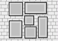 Vector безшовное фоновое изображение деревянных рамок фото на белой кирпичной стене Стоковая Фотография