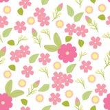 Vector безшовные картина, цветки и листья, изолированный безшовный цветочный узор Иллюстрация вектора, флористическая предпосылка Стоковые Фото