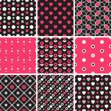 Vector безшовные картины tiling - геометрические, точка польки, сердца иллюстрация штока