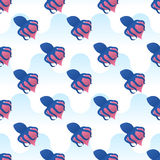 Vector безшовные обручи осьминога картины вокруг сердца Стоковое Фото
