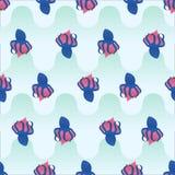 Vector безшовные обручи осьминога картины вокруг сердца Стоковая Фотография RF