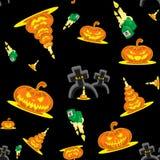 Vector безшовные тыквы, свечи, могилы и крест набора хеллоуина предпосылки Стоковая Фотография