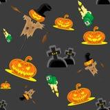 Vector безшовные чучело, тыквы, свечи, могилы и крест набора хеллоуина предпосылки Стоковое Изображение RF