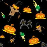 Vector безшовные чучело, тыквы, свечи, могилы и крест набора хеллоуина предпосылки Стоковые Фото