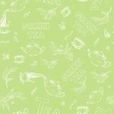 Vector безшовный эскиз картины деталей плюшк-боя и литерности на бледной ой-зелен предпосылке Чай от политого чайника Стоковые Изображения