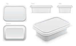 Vector белый контейнер для масла, расплавленного сыра или распространения маргарина иллюстрация вектора
