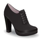 Vector ботинки, ботинки лодыжки черноты ` s женщин на высокой пятке при изолированные шнурки, иллюстрация штока