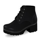Vector ботинки, ботинки ` s женщин черные высокие дальше низко-накрененные при изолированные шнурки, иллюстрация вектора