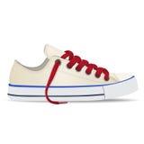 Vector ботинки, gumshoes белые при красные изолированные шнурки, бесплатная иллюстрация