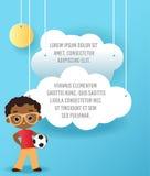 Vector бумажное искусство облака в небе Брошюра рекламы шаблона с космосом для текста Знамя концепции Origami Знамя с Afric Стоковые Фото