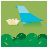 Vector бумажные птицы гнездясь деревья и небо с немногим Стоковые Изображения