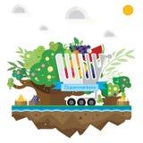 Vector вагонетка супермаркета, плодоовощ, трава, дерево почвы и wat Стоковые Фотографии RF