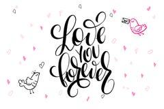 Vector валентинка литерности руки приветствия дня ` s отправляют СМС - полюбите вас навсегда - с формами и птицами сердца Стоковое Фото