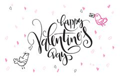Vector валентинка литерности руки приветствия дня ` s отправляют СМС - счастливый день ` s валентинки - с формами и птицами сердц Стоковая Фотография