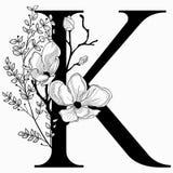 Vector вензель нарисованный рукой флористический k и логотип Стоковые Изображения