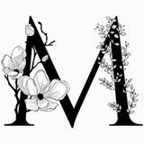 Vector вензель нарисованный рукой флористический m и логотип Стоковые Фото
