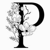 Vector вензель нарисованный рукой флористический uppercase p и логотип Стоковая Фотография RF