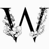 Vector вензель нарисованный рукой флористический uppercase w и логотип Стоковые Изображения RF