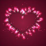Vector венок в форме сердца состоя из посвеченного света Стоковое фото RF