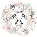 Vector венок нарисованный рукой листьев осени и 2 пересеченных осей Выгравированная годом сбора винограда иллюстрация древесины п Стоковые Изображения