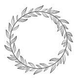 Vector венок нарисованный рукой флористический, круглая рамка с листьями, декорумы иллюстрация штока