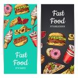 Vector вертикальные знамена или рогульки с фаст-фудом, мороженым, бургером, donuts бесплатная иллюстрация