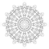 Vector весна пасха мандалы картины взрослой книжка-раскраски круговая черно-белая - предпосылка с яичками Стоковые Изображения
