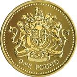 Vector великобританская золотая монетка денег один фунт с гербом Стоковые Изображения