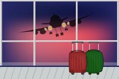 Vector взгляд иллюстрации от окна авиапорта на взлётно-посадочная дорожка w иллюстрация вектора