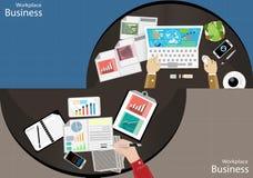 Vector взгляд сверху современные техники связи задают работу, усиление бизнесмена рабочего места передвижная бумага таблетки комп Стоковое Фото