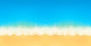 Vector взгляд сверху спокойного пляжа океана с голубыми волнами, желтым песком, и белой пеной иллюстрация штока