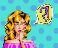 Vector винтажная иллюстрация искусства шипучки плача женщины Стоковые Фото