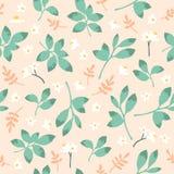 Vector винтажная картина с зелеными листьями и цветками Стоковая Фотография RF