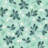 Vector винтажная картина с зелеными листьями и цветками Стоковые Изображения