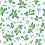 Vector винтажная картина с зелеными листьями и цветками Стоковая Фотография