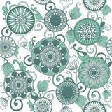 Vector винтажная картина с зелеными листьями и цветками Стоковое фото RF