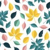 Vector винтажная картина с зелеными листьями и цветками Стоковое Фото