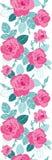 Vector винтажные розовые розы и листья сини на границе картины повторения белой предпосылки вертикальной безшовной Большой для ре иллюстрация вектора