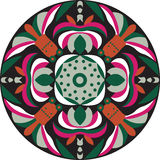 Vector восточная традиционная картина циркуляра рыбки цветка лотоса Стоковое Изображение RF