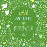 Vector влюбленность doodle зеленые и предпосылка темы мира с цитатой a Стоковые Фотографии RF